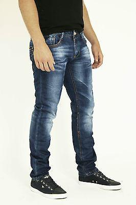 NEW MENS STYLE JEANS BLUE DESIGNER BRANDED STRAIGHT SLIM WASHED DENIMS