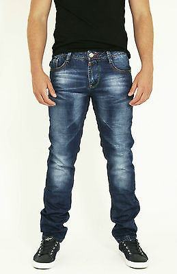 NEW MENS STYLE JEANS BLUE DESIGNER BRANDED STRAIGHT SLIM WASHED DENIMS - Dresskode  - 2