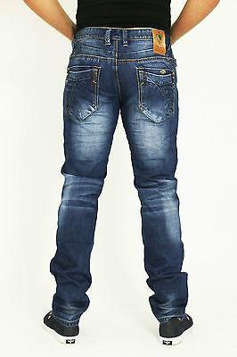 NEW MENS STYLE JEANS BLUE DESIGNER BRANDED STRAIGHT SLIM WASHED DENIMS - Dresskode  - 3