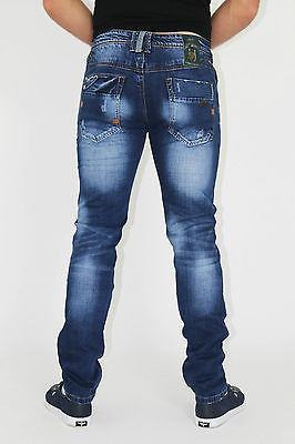 NEW MENS STYLE JEANS BLUE DESIGNER BRANDED STRAIGHT WASHED ALL WAIST & SIZES - Dresskode  - 3