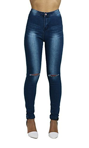 Olivia Ladies High Waist Blue Faded Ripped Skinny Jeans - Dresskode  - 4