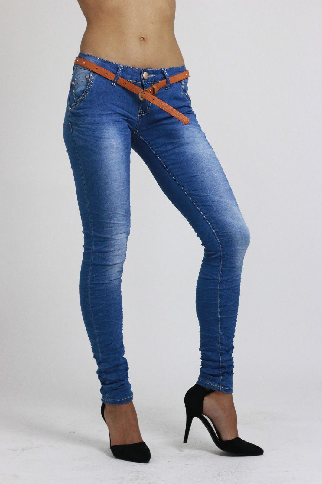Womens Ladies Slim Fit Stretchy Skinny Blue Denim Jeans Pant UK