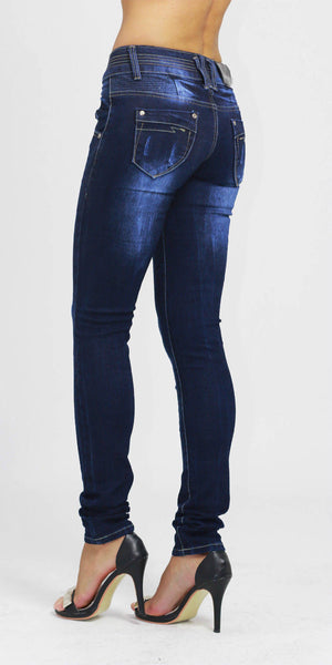 Womens Dark Blue RippedSkinny Denim Jeans Size 6 - Dresskode  - 2