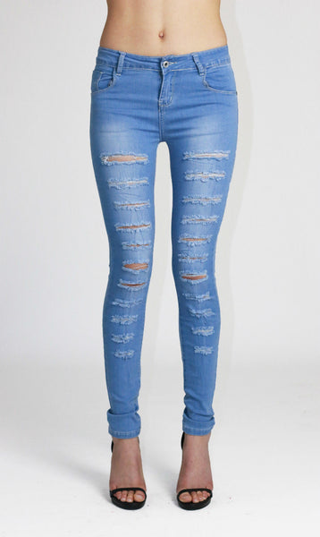 Ellie Womens Ladies Light Blue Ripped Skinny Jeans