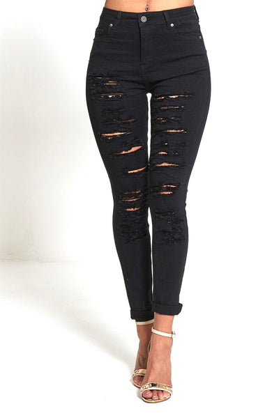 Cara Black Highly Ripped Stylish Mid Waist Jean