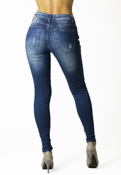 Womens Ladies Stretchy Blue Skinny Ripped Jeans - Dresskode  - 2