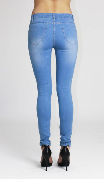 Ellie Womens Ladies Light Blue Ripped Skinny Jeans - Dresskode  - 3