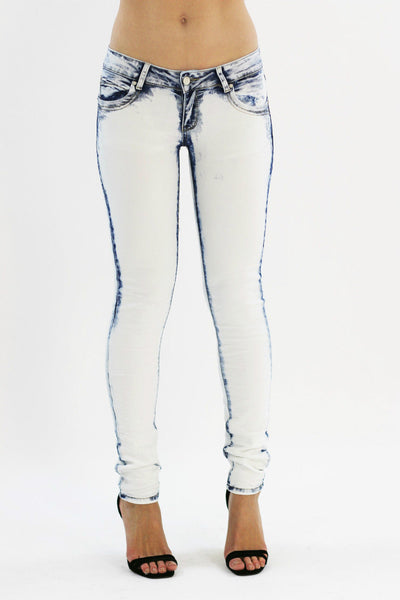 Claie Womens Ladies White - Blue Shaded Skinny Denim Jeans Jeggings
