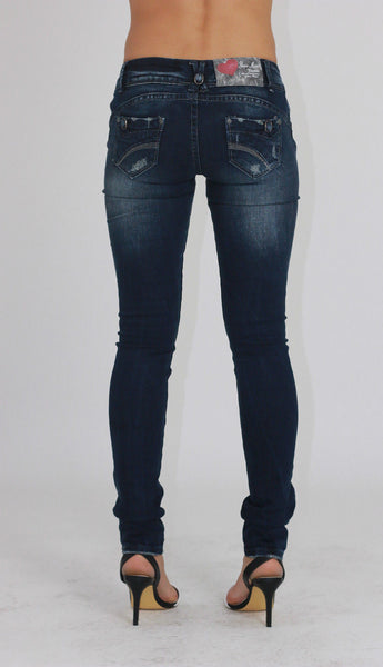 Womens Dark Blue Ripped Skinny Denim Jeans Size 10 - Dresskode  - 3