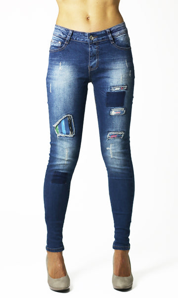 Womens Ladies Stretchy Blue Skinny Ripped Jeans