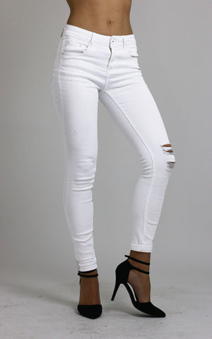 Womesn White Knee Ripped Skinny Jeans size 12 - Dresskode  - 1