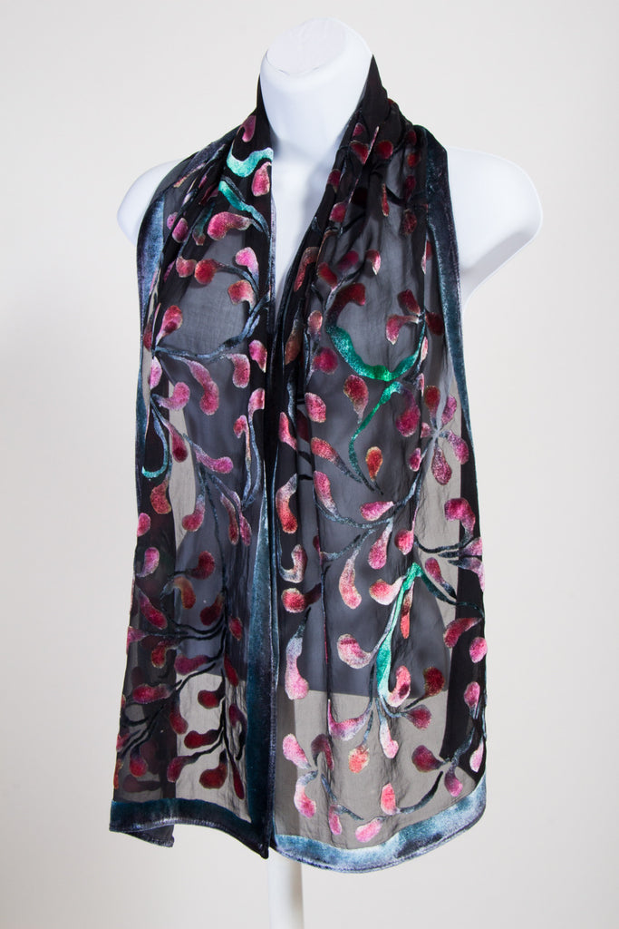 Velvet Scarf in Scrolls Pattern in Black with Red and Turquoise