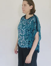 Load and play video in Gallery viewer, Turquoise Velvet Poncho Top with Gingko Pattern