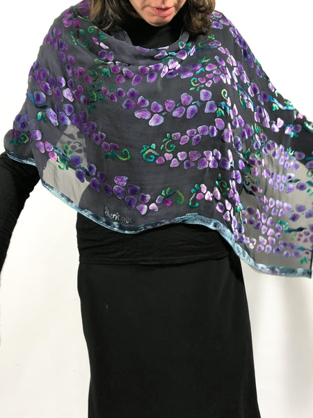 Burnout Velvet Versatile Poncho in Black with Purple Willow Branches