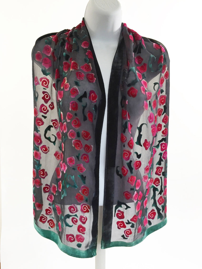 Velvet Scarf with Roses Pattern in Black and Red.