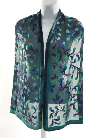 Velvet Scarf with Scrolls Pattern in Black.