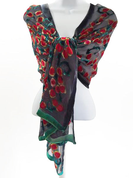 Velvet Scarf/Shawl with Roses Pattern in black and Red.