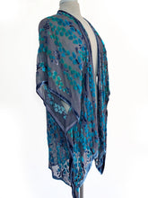 Load image into Gallery viewer, Velvet Kimono in Gray Turquoise