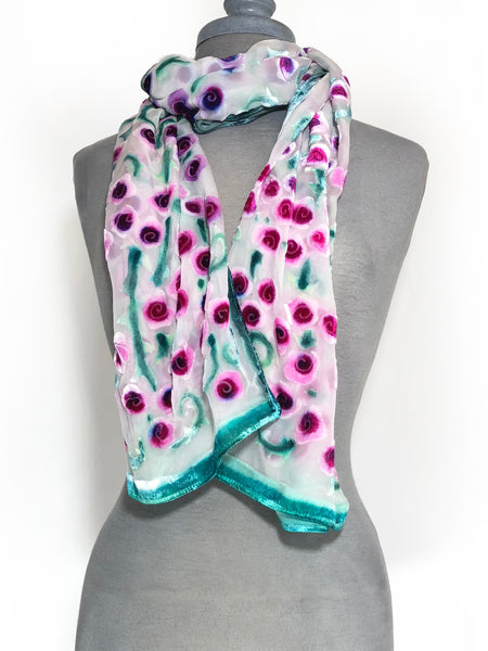Velvet Scarf/Shawl in Ivory with Fuchsia Roses