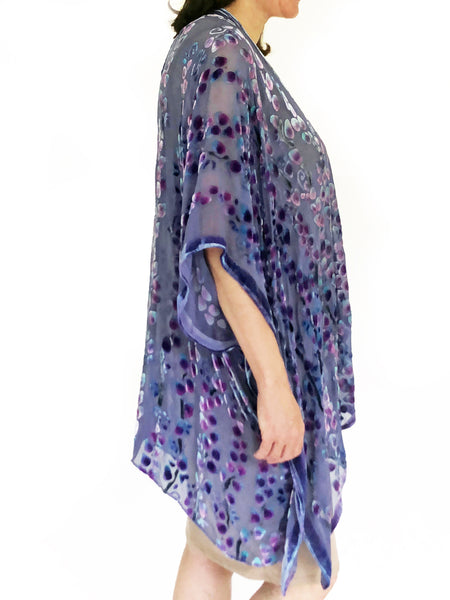 Velvet Kimono with Willow Branches in Purple