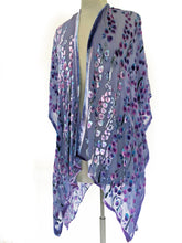 Load image into Gallery viewer, Velvet Kimono with Willow Branches in Purple