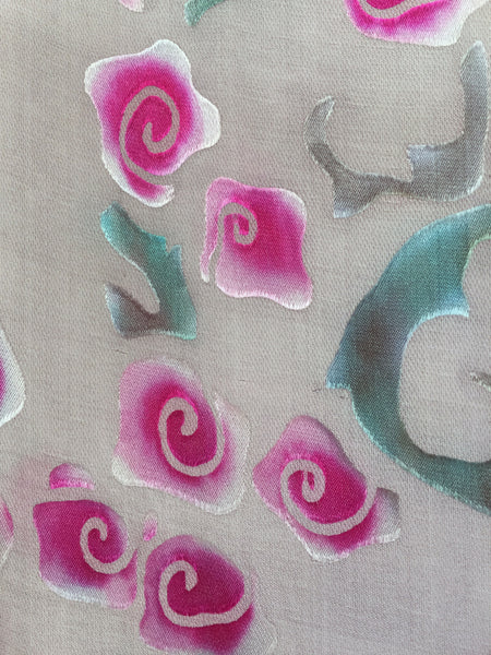 Berry Roses on Grey Satin Scarf/Shawl