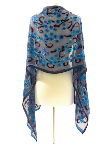 Satin Scarf Shawl with Turquoise, Purple and Gray Roses.