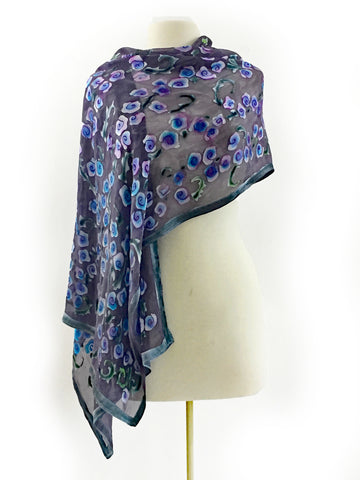 Satin Scarf/Shawl with Roses in Black Grey Purple Periwinkle.