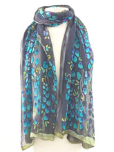 Load image into Gallery viewer, Devorè Silk Hand Painted Scarf, shawl, in Black Gray Turquoise-SOLD OUT