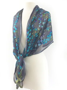 Devorè Silk Hand Painted Scarf, shawl, in Black Gray Turquoise-SOLD OUT