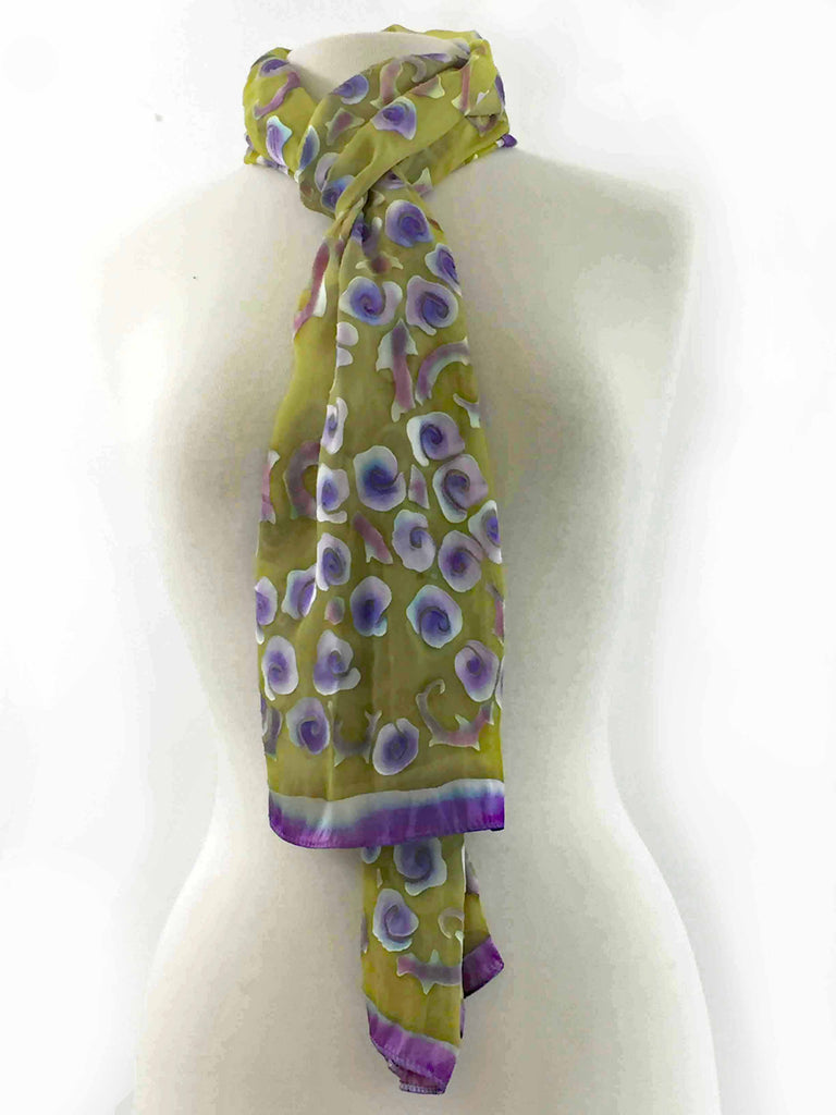 Satin Scarf/Shawl with Purple Roses on Yellow