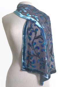 Velvet Scarf in Gray with Blue