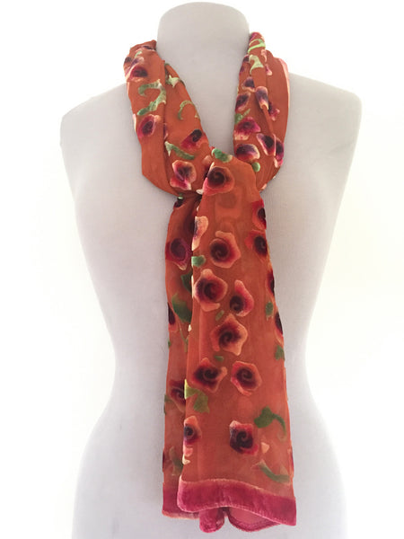 Burnout Silk Velvet Scarf Hand painted Orange and Red Roses