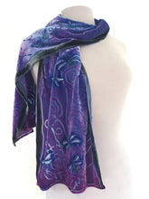 Load image into Gallery viewer, Velvet Dragonflies Scarf in Purple