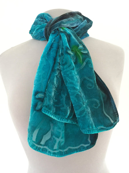 Velvet Scarf with Dragonflies in Turquoise
