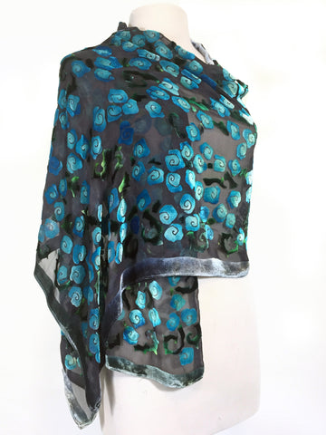 Silk Velvet Scarf Shawl Hand-Painted with Roses Pattern