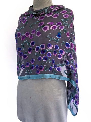 Burnout Satin Poncho/Scarf in Black with Purple Roses.