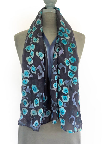Burnout Satin Poncho/Scarf in Black with Turquoise Roses.