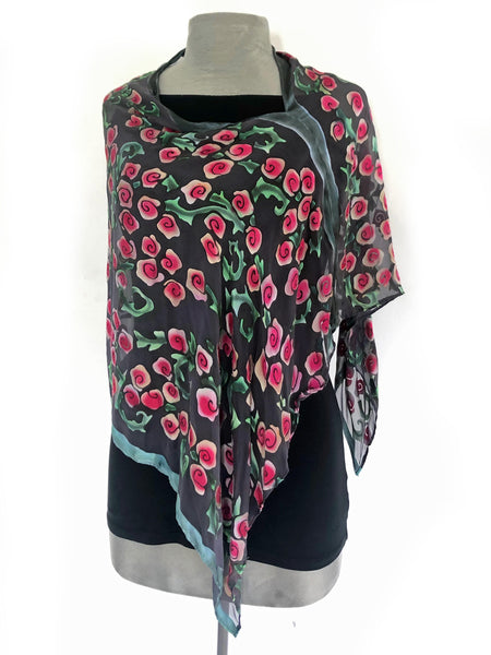 Burnout Satin Poncho/Scarf in Black with Red Roses.
