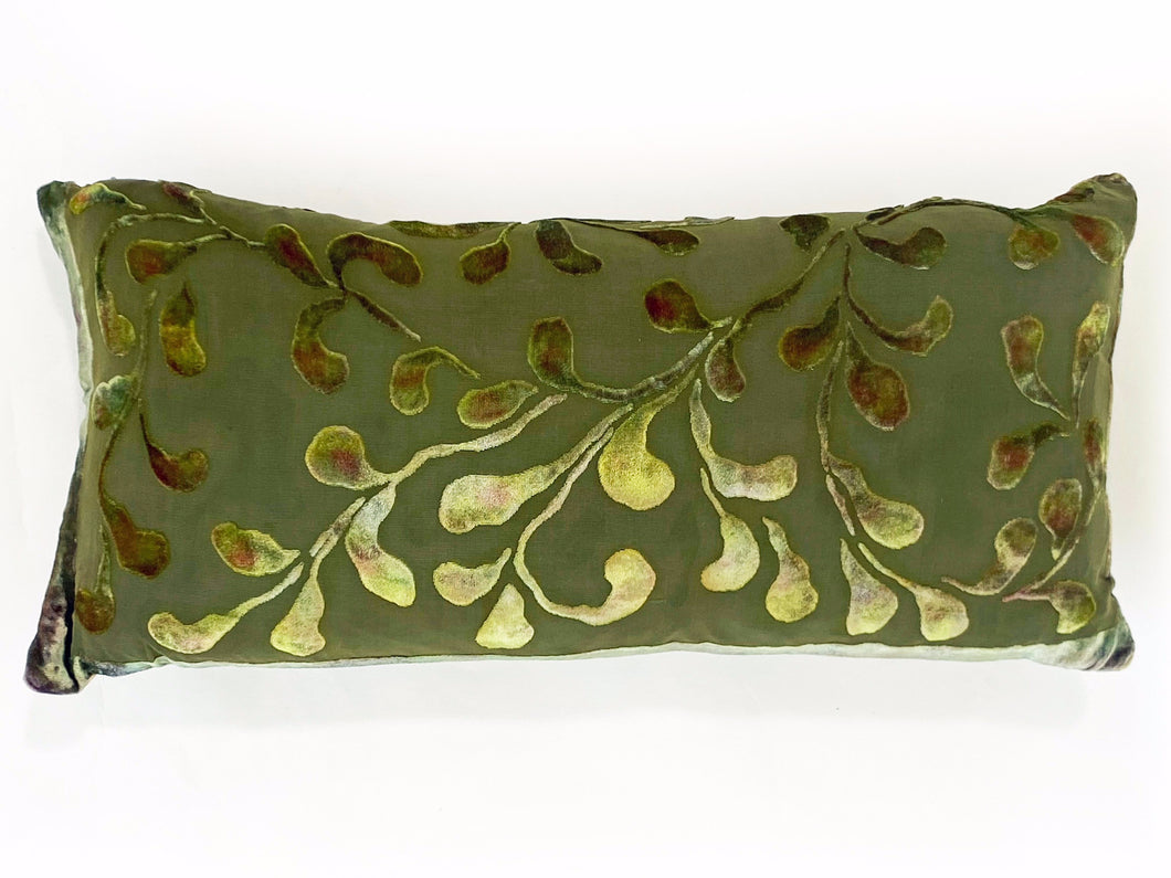 Rectangle Pillow with Scrolling Pattern in Earth Tones