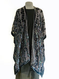 Black Velvet on Black Silk Chiffon Willows Pattern Kimono