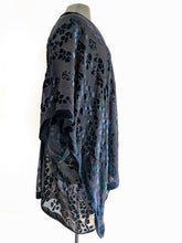 Load image into Gallery viewer, Black Velvet on Black Silk Chiffon Willows Pattern Kimono