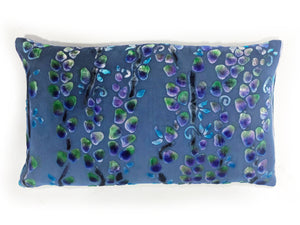 Periwinkle Pillow with Hand Painted Willow Branches-sold out