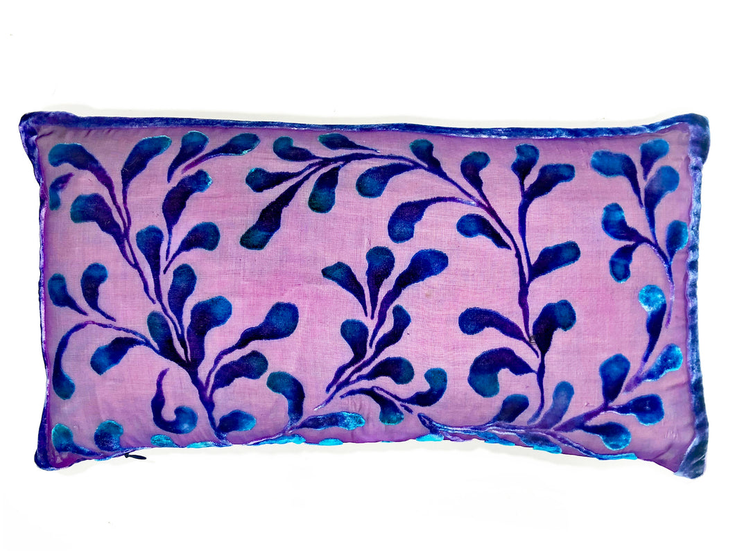 Scrolls Pillow in Amethyst with Navy SOLD