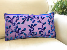 Load image into Gallery viewer, Scrolls Pillow in Amethyst with Navy SOLD