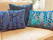 Load image into Gallery viewer, Periwinkle Pillow with Hand Painted Willow Branches-sold out