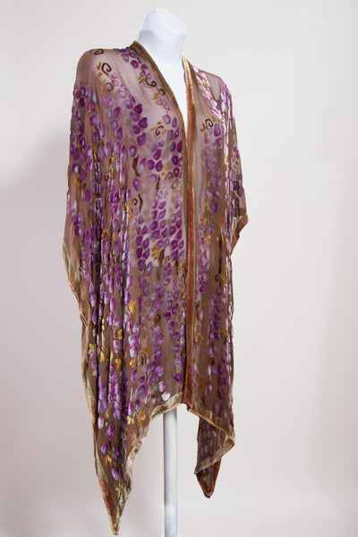 Velvet Kimono with Willows in Brown