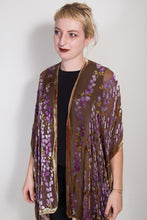Load image into Gallery viewer, Velvet Kimono with Willows in Brown