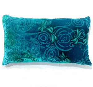 "Aqua blue 12""x20"" Pillow with Dragonflies Pattern-Sherit Levin"