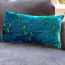 "Load image into Gallery viewer, Aqua blue 12""x20"" Pillow with Dragonflies Pattern-Sherit Levin"